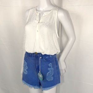 SMY MuMu White Sleeveless Hi-Lo Shirttail Blouse M